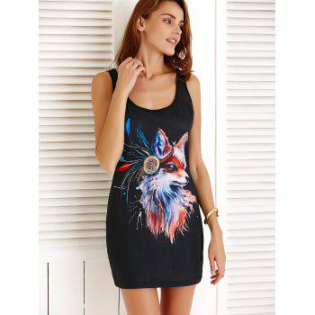 Scoop Neck Sleeveless Fox Pattern Mini Dress