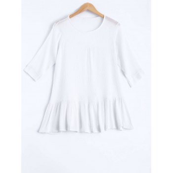 Plus Size Brief Flounced Pure Color Blouse - WHITE WHITE