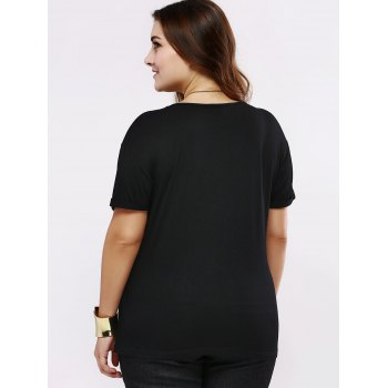 Plus Size Casual Pure Color long T-shirt - Noir 5XL