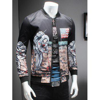 Novelty Moon Landing Print Stand Collar Long Sleeves Jacket - COLORMIX XL