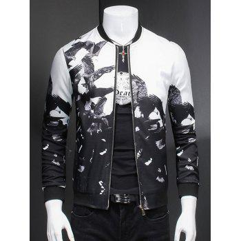 Eagle Print Ribbed Collar Long Sleeve Jacket For Men