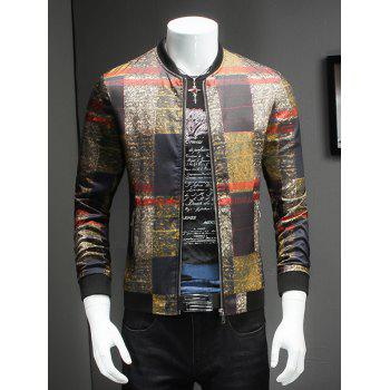 Trendy Stand Collar Long Sleeves Tartan Jacket