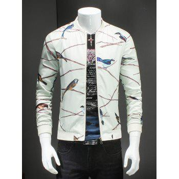 Birds Print Ribbed Collar Long Sleeves White Jacket For Men