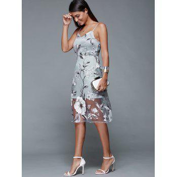 Spaghetti Strap Floral Dress Backless - Gris Bleuté L