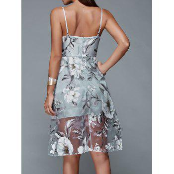Spaghetti Strap Floral Dress Backless - Gris Bleuté S