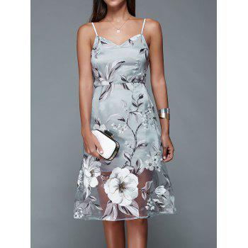 Spaghetti Strap Backless Floral Dress