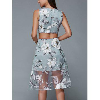 Floral Print Crop Top and Mesh Spliced Skirt Two Piece Prom Dress - BLUE GRAY XL