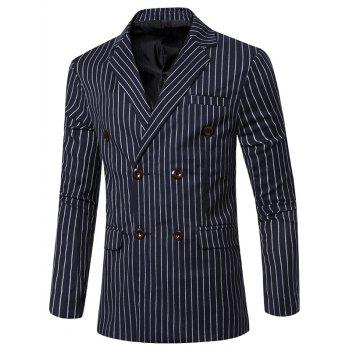 Classic Striped Notched Lapel Collar Long Sleeves Blazer For Men