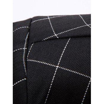 Classic Double Breasted Notched Lapel Collar Checked Blazer For Men - BLACK 2XL
