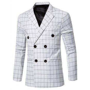 Classic Double Breasted Notched Lapel Collar Checked Blazer For Men