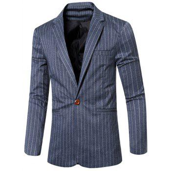 Notched Lapel Collar Single Button Striped Slim Fit Blazer For Men