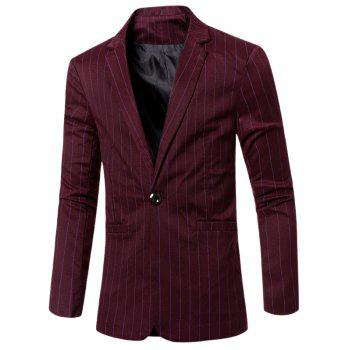Notched Lapel Collar Stylish Single Button Striped Slim Fit Blazer For Men