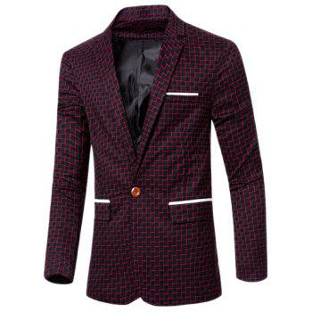 Chic Stripe Print Lapel Collar Single Button Patchwork Blazer For Men