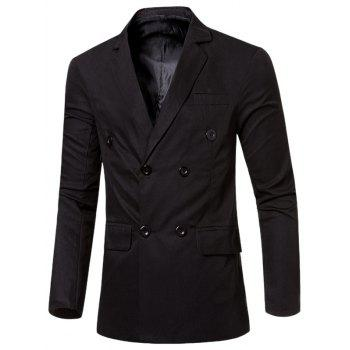 Buy Flap-Pocket Design Casual Lapel Collar Double Breasted Blazer Men BLACK