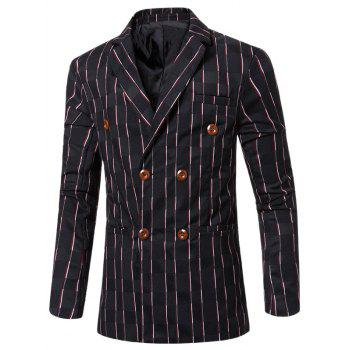 Buy Look Striped Notched Lapel Collar Double Breasted Blazer Men BLACK