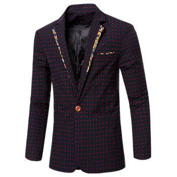 Stylish Spliced Lapel Collar Single Button Dot Embroidered Blazer For Men