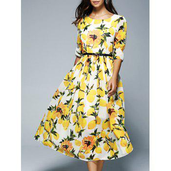 3/4 Sleeve Belt Tie Floral Print Women's Midi Dress