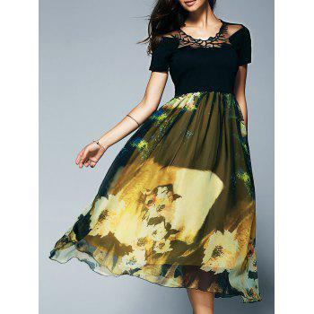 Short Sleeve Spliced Self Tie Floral Print Midi Dress