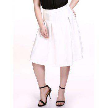 Plus Size Ladylike White Gored Skirt