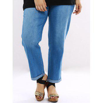 Plus Size Flanging Hem Straight Jeans