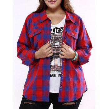 Plus Size Flap Pockets Plaid Shirt - BLUE AND RED 5XL
