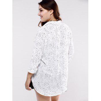 Plus Size Sweet Double Pockets Long Shirt - WHITE WHITE