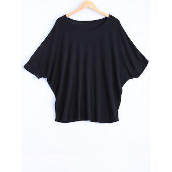 Oversized Simple Batwing Sleeve Loose T-Shirt