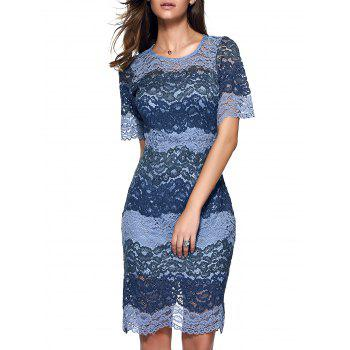 Attractive Women's Flounced Slit Lace Dress