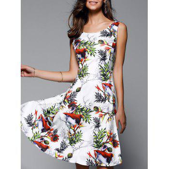 Graceful Women's Floral Print High Waist Dress