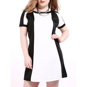 Oversized Western Style Hit Color Shift Dress