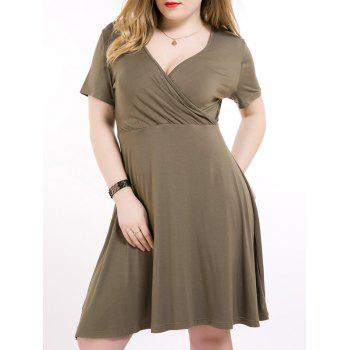 High Waist Plus Size Surplice Dress