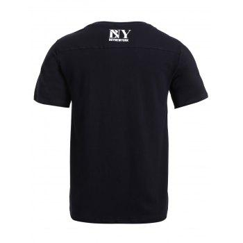 BoyNewYork Stripes Pattern Short Sleeves T-Shirt - BLACK XL