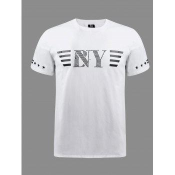 BoyNewYork Stripes Beads Embellished Short Sleeves T-Shirt