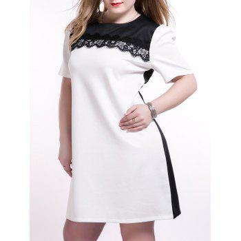 Plus Size Trendy Lace Splicing Shift Dress