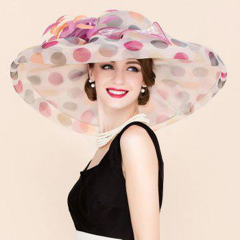 Elegant Handmade Flower Big Polka Dot Pattern Wedding Banquet Party Church Hat