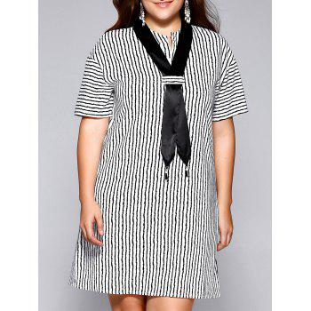 Oversized Casual Tie Neck Striped Shift Dress