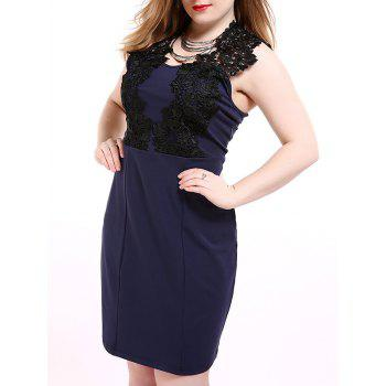 Oversized Chic Sleeveless Flower Appliqued Pencil Dress