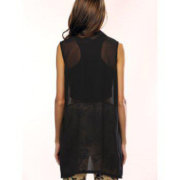 Lapel See-Through Pocket Chiffon Long Waistcoat - BLACK 2XL