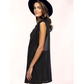 Lapel See-Through Pocket Chiffon Long Waistcoat - BLACK BLACK