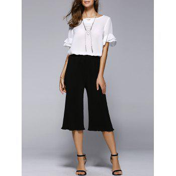 Ruffle Chiffon Blouse and Crop Culotte Pants