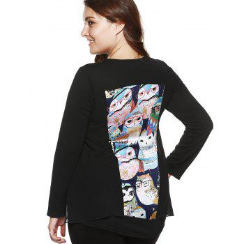 Plus Size Stylish Owl Print Asymmetrical Blouse - BLACK 4XL