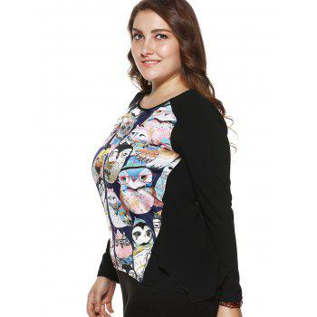 Plus Size Stylish Owl Print Asymmetrical Blouse - BLACK 2XL