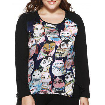 Plus Size Stylish Owl Print Asymmetrical Blouse