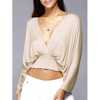 Plunge Neck Backless Dolman Sleeve Stretched Waist Cropped Blouse