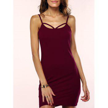 Spaghetti Strap Criss Cross Pure Color Backless Bodycon Dress