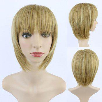 Fashion Synthetic Short Straight Full Bang Women's Mixed Color Hair Wig