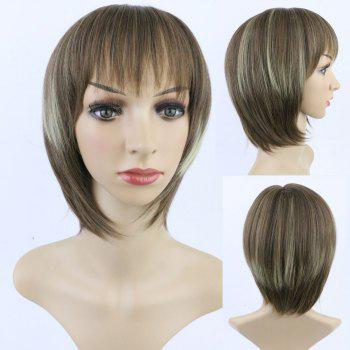 Stylish Synthetic Short Straight Full Bang Women's Mixed Color Hair Wig
