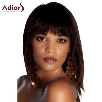Fashion Women's Deep Brown Medium Straight Full Bang Synthetic Hair Wig