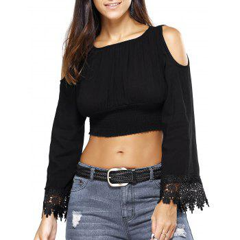Open Shoulder Crochet Trim Bell Sleeve Crop Top