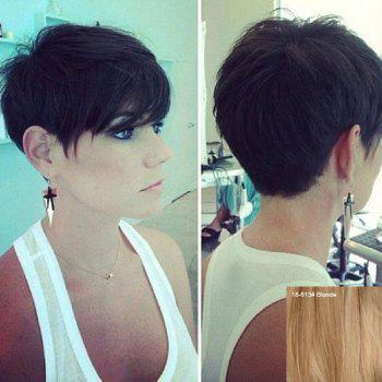 Ultrashort Side Bang Human Hair Wig Masculine For Women